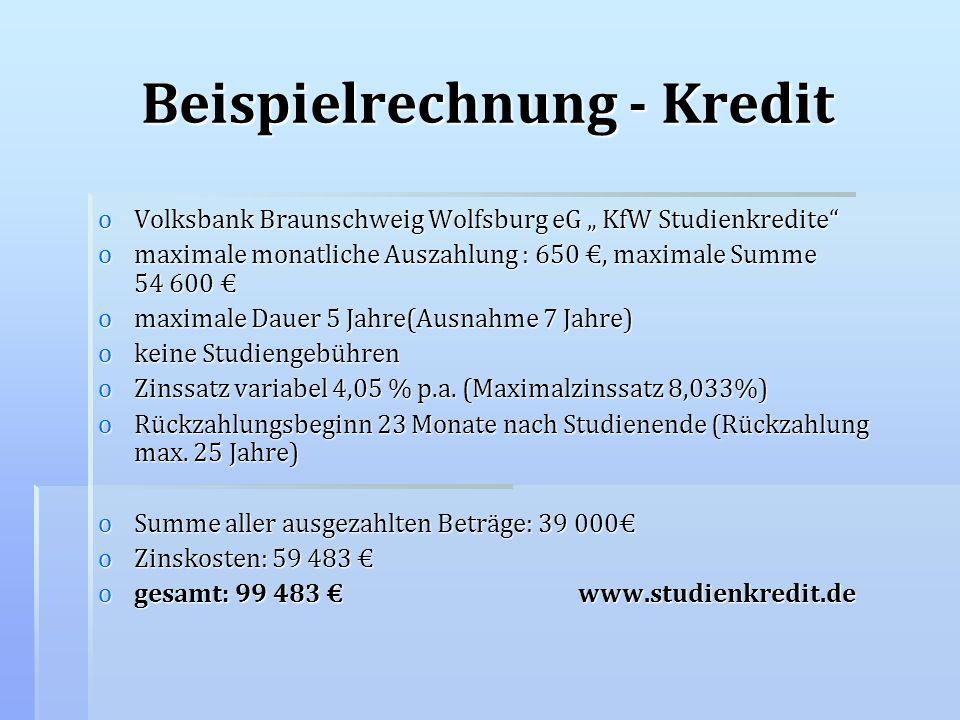 Beispielrechnung - Kredit oVolksbank Braunschweig Wolfsburg eG KfW Studienkredite omaximale monatliche Auszahlung : 650, maximale Summe 54 600 omaxima