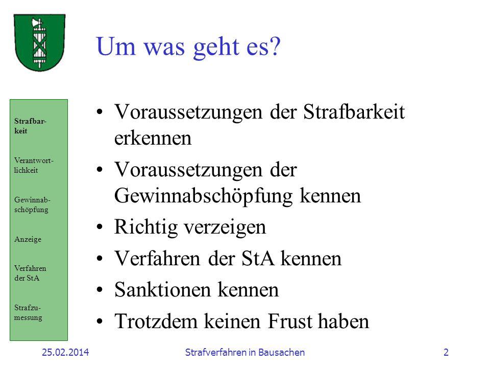 25.02.2014Strafverfahren in Bausachen2 Um was geht es.