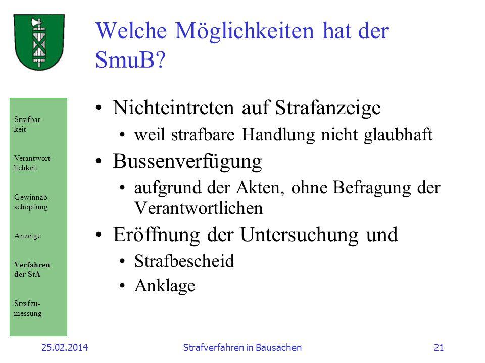 25.02.2014Strafverfahren in Bausachen21 Welche Möglichkeiten hat der SmuB.