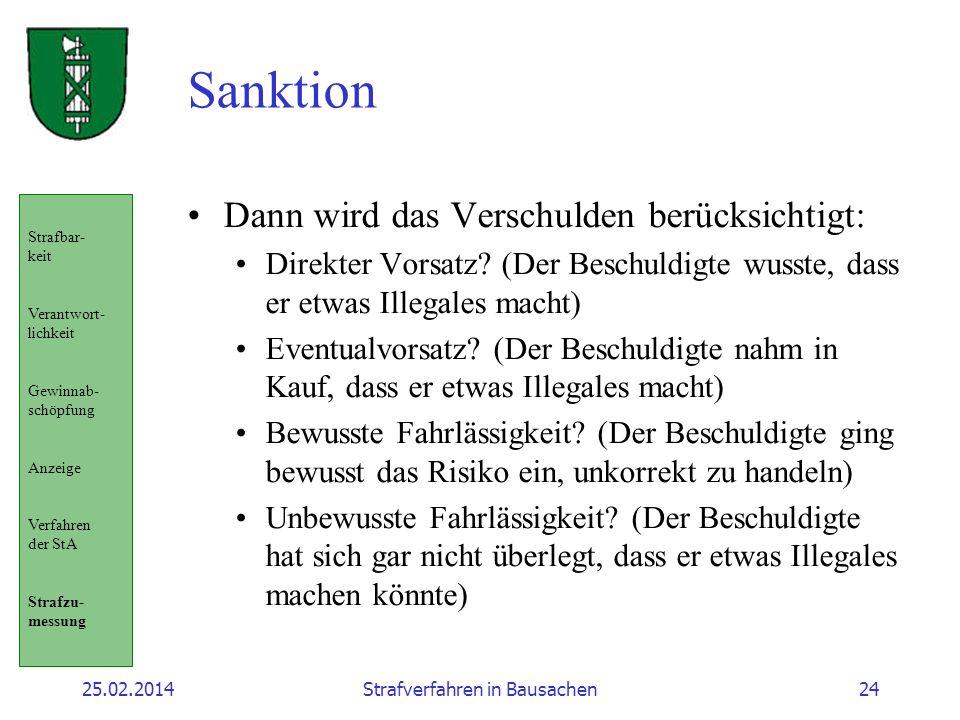 25.02.2014Strafverfahren in Bausachen24 Sanktion Dann wird das Verschulden berücksichtigt: Direkter Vorsatz? (Der Beschuldigte wusste, dass er etwas I