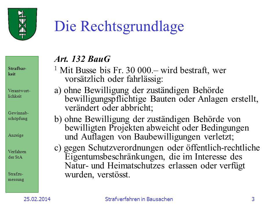 25.02.2014Strafverfahren in Bausachen3 Die Rechtsgrundlage Art. 132 BauG 1 Mit Busse bis Fr. 30 000.– wird bestraft, wer vorsätzlich oder fahrlässig: