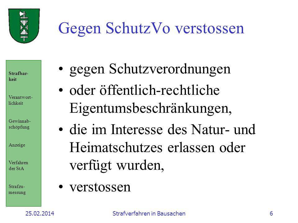 25.02.2014Strafverfahren in Bausachen6 Gegen SchutzVo verstossen gegen Schutzverordnungen oder öffentlich-rechtliche Eigentumsbeschränkungen, die im I