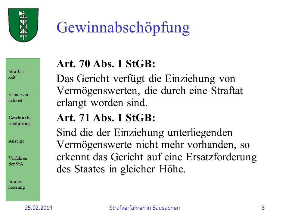 25.02.2014Strafverfahren in Bausachen8 Gewinnabschöpfung Art. 70 Abs. 1 StGB: Das Gericht verfügt die Einziehung von Vermögenswerten, die durch eine S