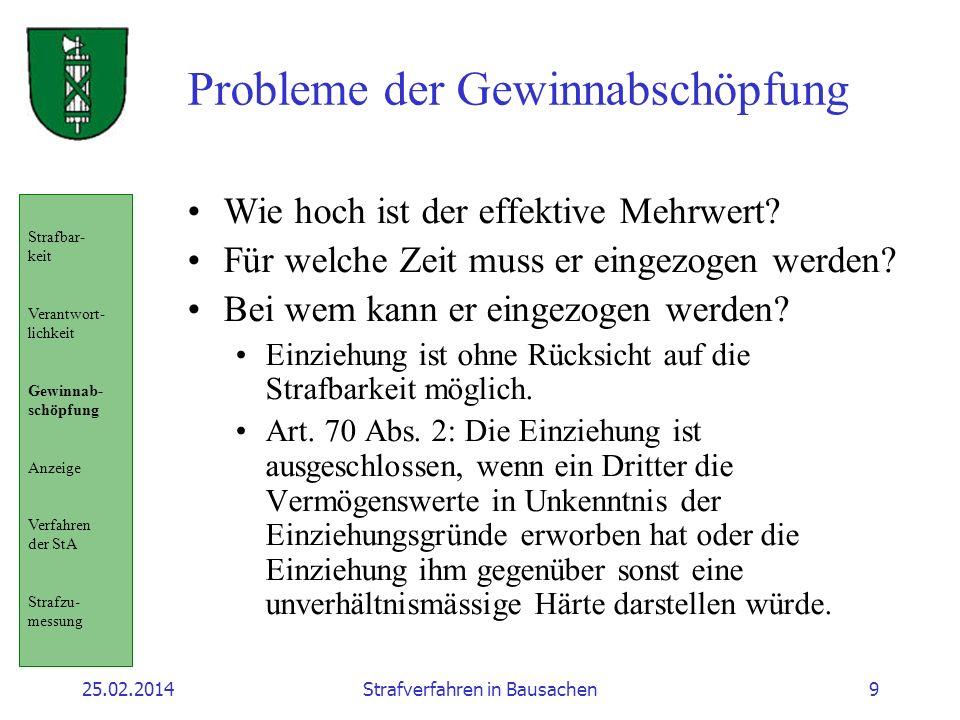 25.02.2014Strafverfahren in Bausachen9 Probleme der Gewinnabschöpfung Wie hoch ist der effektive Mehrwert? Für welche Zeit muss er eingezogen werden?