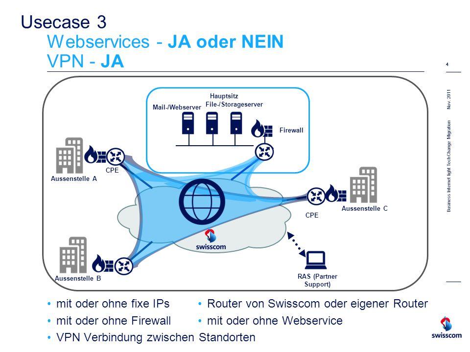 Nov. 2011 4 Business Internet light TechChange Migration 4 Usecase 3 Webservices - JA oder NEIN VPN - JA mit oder ohne fixe IPs mit oder ohne Firewall