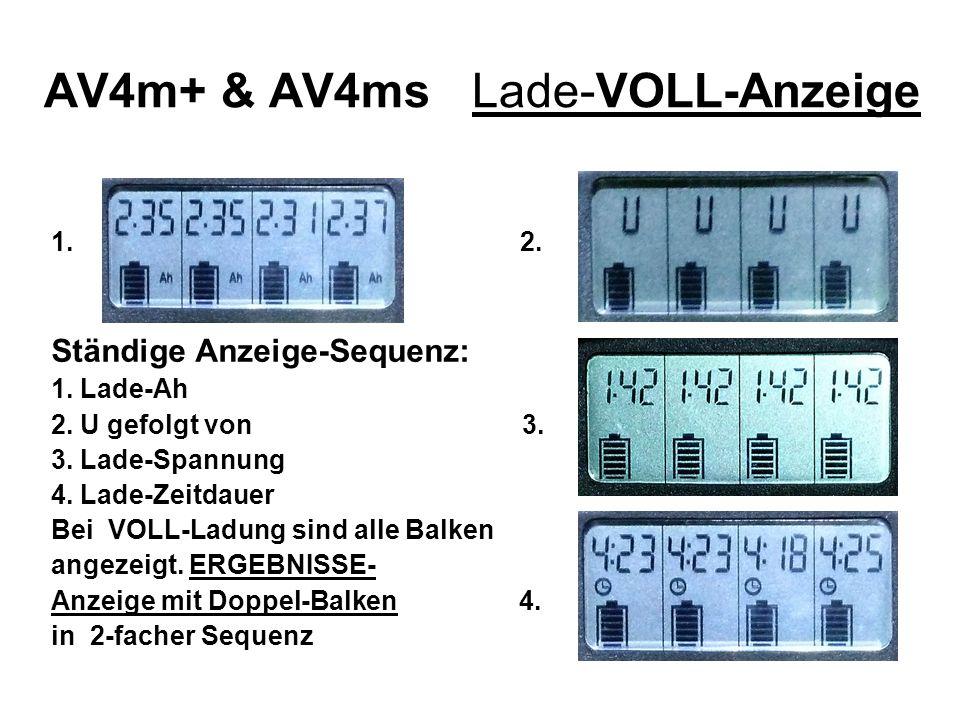 AV4m+ & AV4ms Lade-VOLL-Anzeige 1. 2. Ständige Anzeige-Sequenz: 1. Lade-Ah 2. U gefolgt von 3. 3. Lade-Spannung 4. Lade-Zeitdauer Bei VOLL-Ladung sind