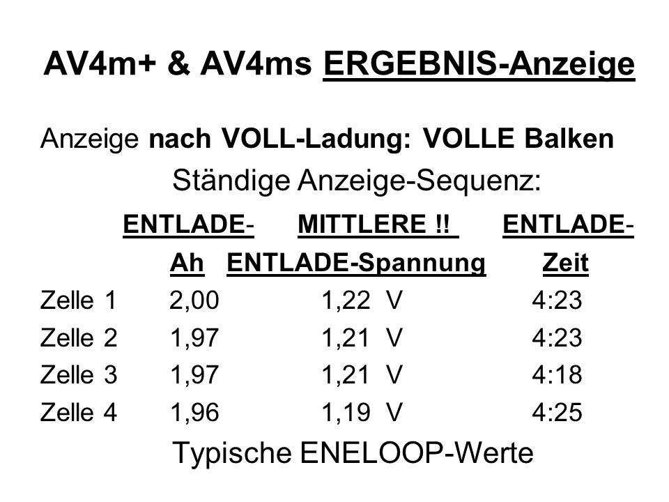 AV4m+ & AV4ms ERGEBNIS-Anzeige Anzeige nach VOLL-Ladung: VOLLE Balken Ständige Anzeige-Sequenz: ENTLADE- MITTLERE !! ENTLADE- Ah ENTLADE-Spannung Zeit