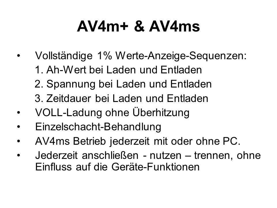 AV4m+ & AV4ms Vollständige 1% Werte-Anzeige-Sequenzen: 1. Ah-Wert bei Laden und Entladen 2. Spannung bei Laden und Entladen 3. Zeitdauer bei Laden und