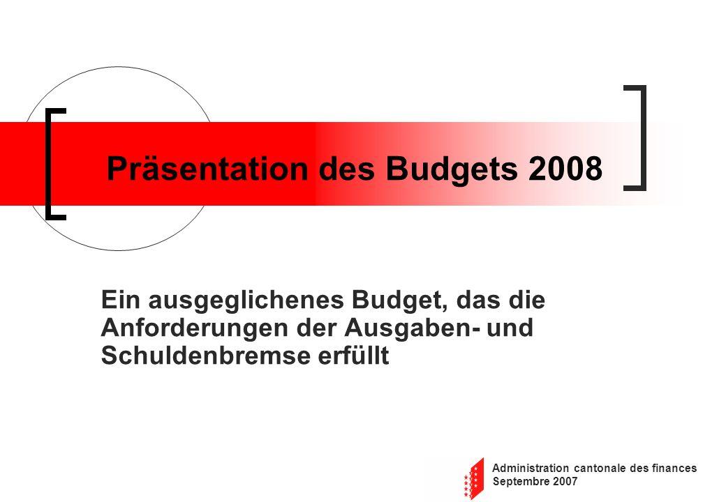 Administration cantonale des finances Septembre 2007 Präsentation des Budgets 2008 Ein ausgeglichenes Budget, das die Anforderungen der Ausgaben- und
