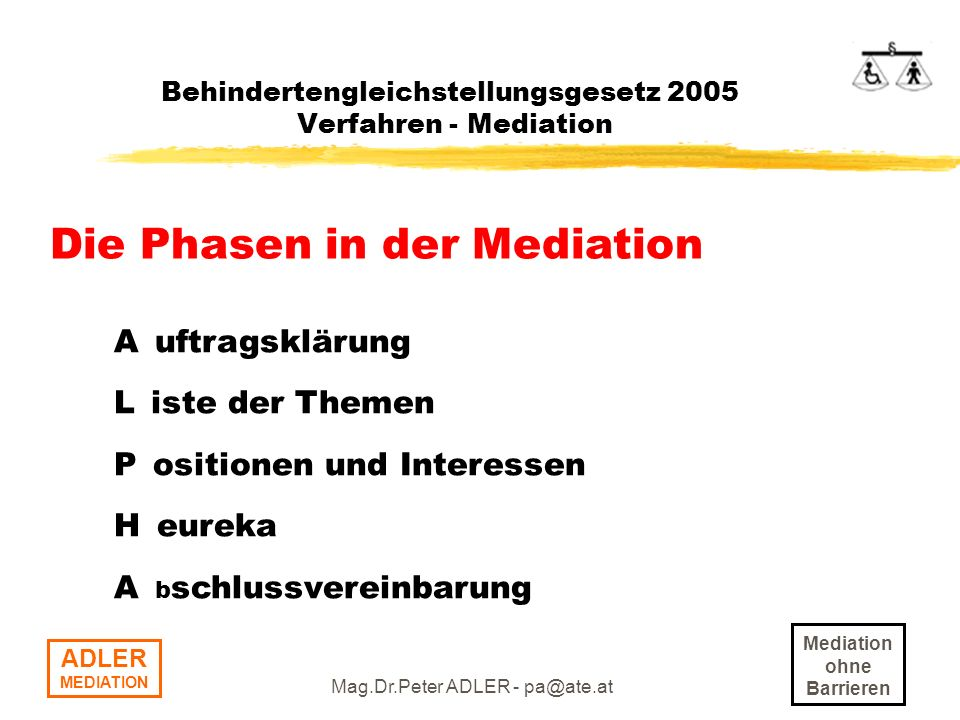 Mediation ohne Barrieren ADLER MEDIATION Mag.Dr.Peter ADLER - pa@ate.at Behindertengleichstellungsgesetz 2005 Verfahren - Mediation Die Phasen in der