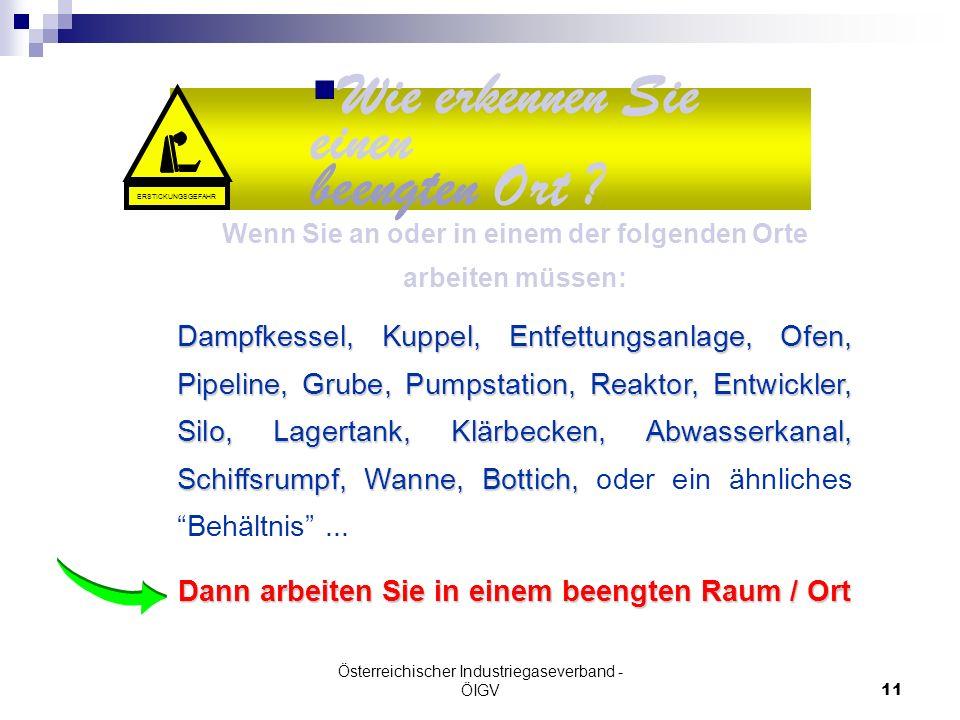 Österreichischer Industriegaseverband - ÖIGV11 ~ 50% Wie erkennen Sie einen beengten Ort ? Wenn Sie an oder in einem der folgenden Orte arbeiten müsse