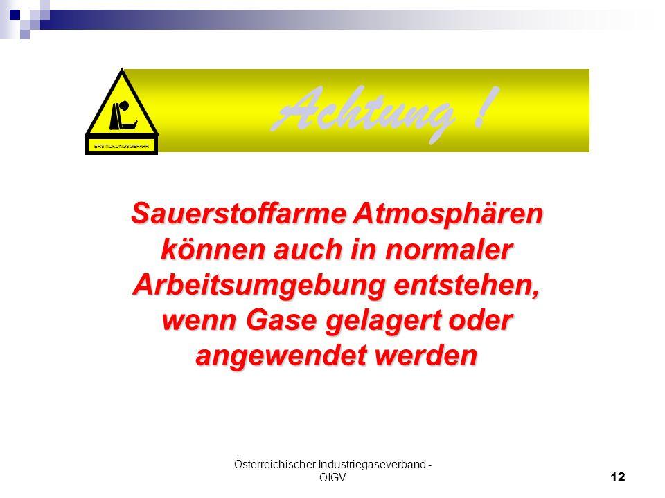 Österreichischer Industriegaseverband - ÖIGV12 Achtung ! Sauerstoffarme Atmosphären können auch in normaler Arbeitsumgebung entstehen, wenn Gase gelag