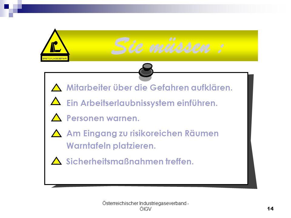 Österreichischer Industriegaseverband - ÖIGV14 Sie müssen : Mitarbeiter über die Gefahren aufklären. Ein Arbeitserlaubnissystem einführen. Personen wa