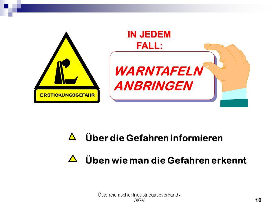 Österreichischer Industriegaseverband - ÖIGV16 IN JEDEM FALL: Über die Gefahren informieren Üben wie man die Gefahren erkennt WARNTAFELN ANBRINGEN ERS