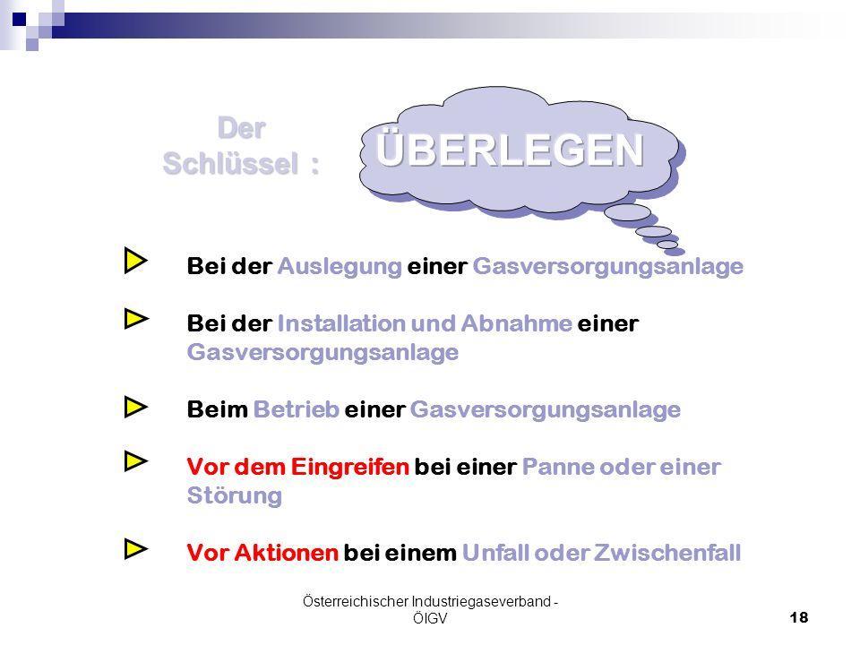 Österreichischer Industriegaseverband - ÖIGV18 Der Schlüssel : Bei der Auslegung einer Gasversorgungsanlage Bei der Installation und Abnahme einer Gas