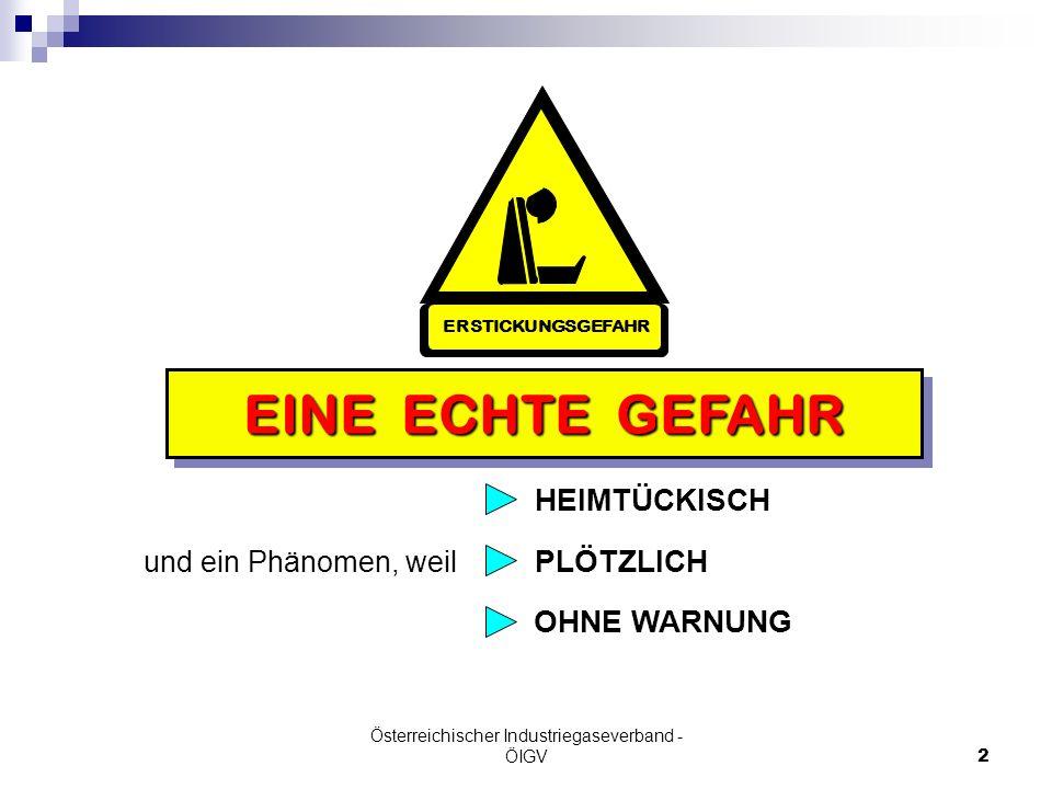 Österreichischer Industriegaseverband - ÖIGV2 OHNE WARNUNG EINE ECHTE GEFAHR ERSTICKUNGSGEFAHR und ein Phänomen, weil HEIMTÜCKISCH PLÖTZLICH