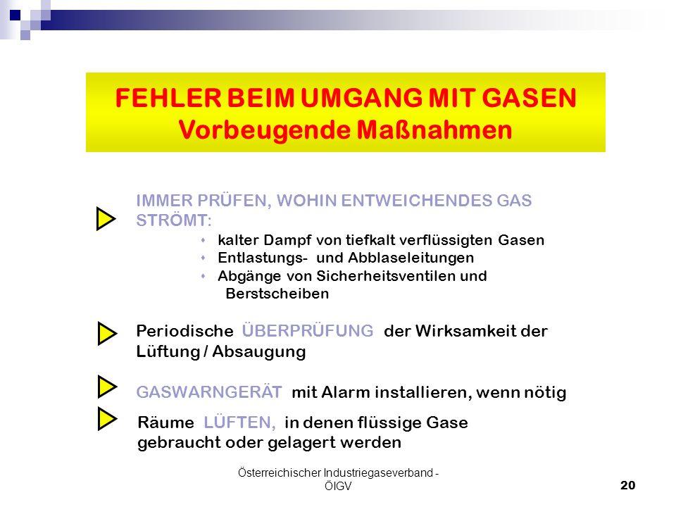 Österreichischer Industriegaseverband - ÖIGV20 IMMER PRÜFEN, WOHIN ENTWEICHENDES GAS STRÖMT: s kalter Dampf von tiefkalt verflüssigten Gasen s Entlast