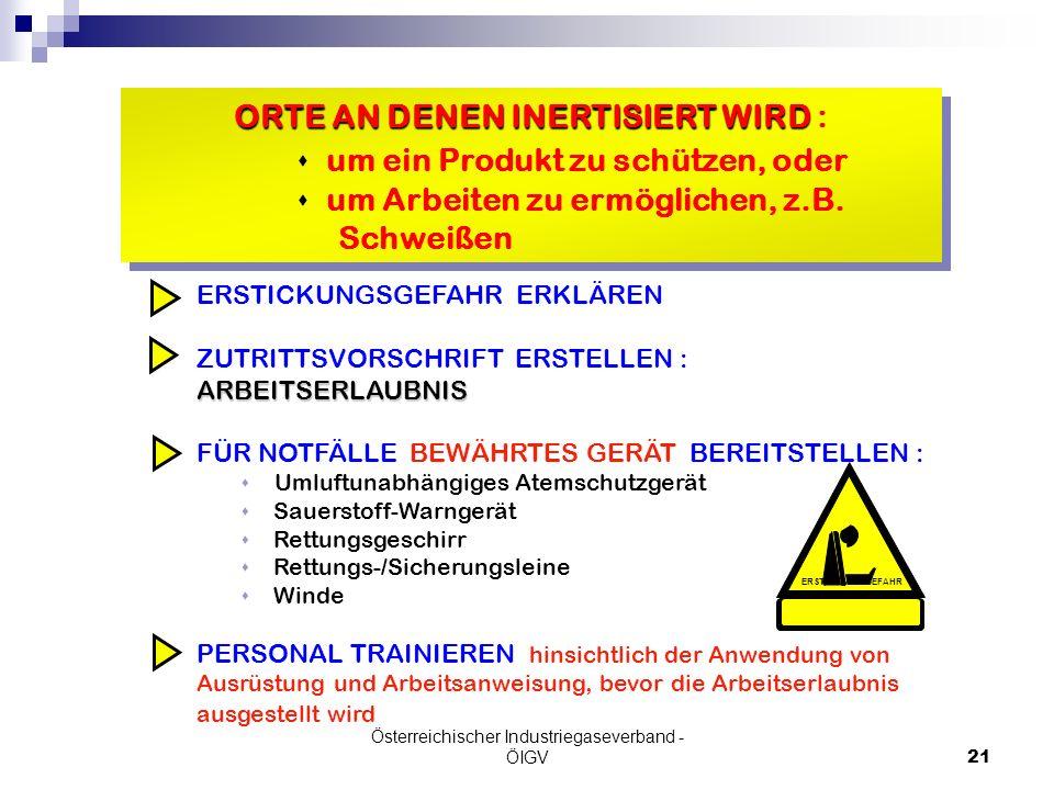 Österreichischer Industriegaseverband - ÖIGV21 ORTE AN DENEN INERTISIERT WIRD ORTE AN DENEN INERTISIERT WIRD : s um ein Produkt zu schützen, oder s um