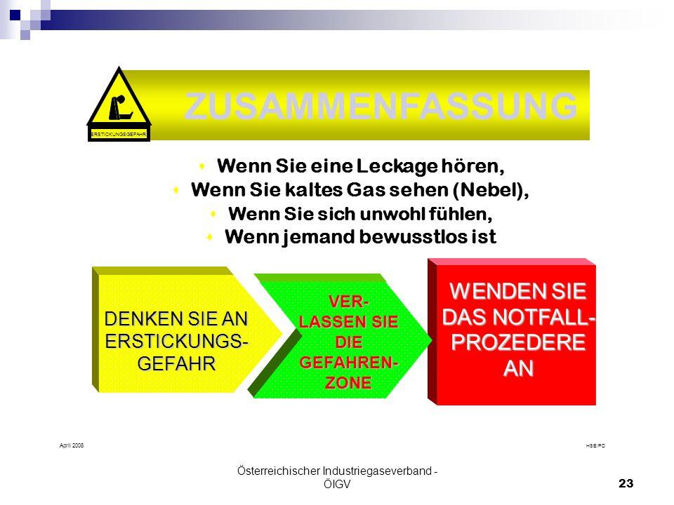 Österreichischer Industriegaseverband - ÖIGV23 HSE/PD April 2008 CONCLUSION: s Wenn Sie eine Leckage hören, s Wenn Sie kaltes Gas sehen (Nebel), s Wen