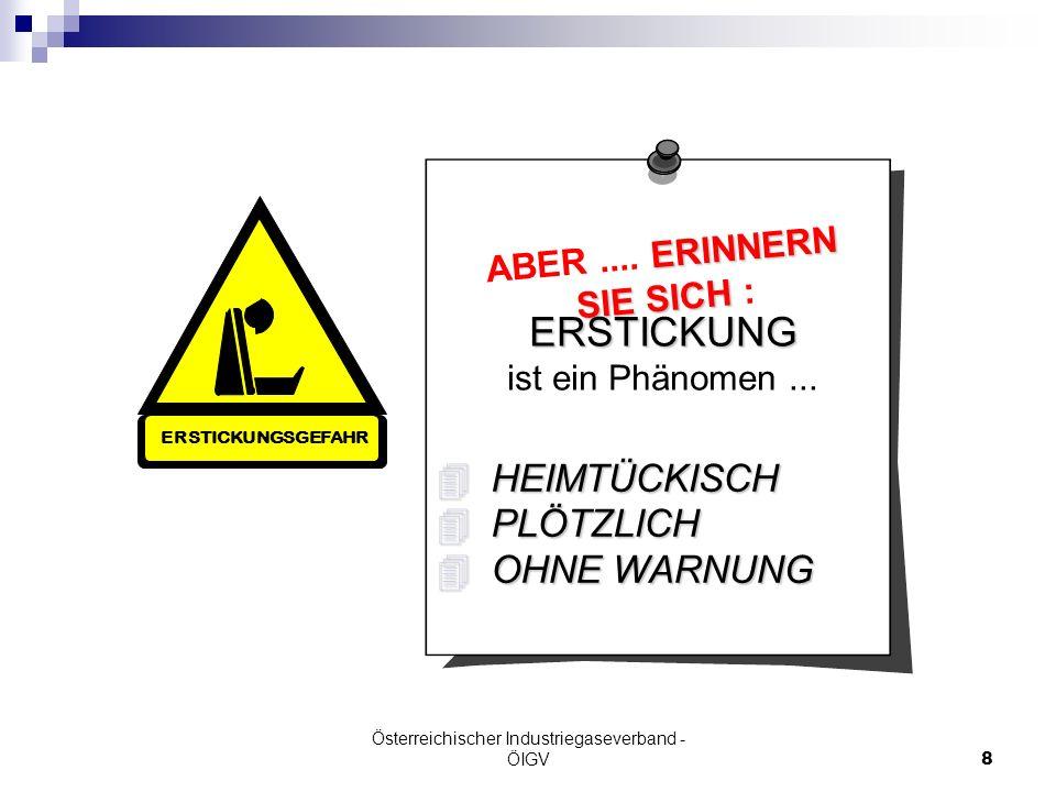 Österreichischer Industriegaseverband - ÖIGV8 ERINNERN ABER.... ERINNERN SIE SICH SIE SICH : ERSTICKUNG ist ein Phänomen... HEIMTÜCKISCH HEIMTÜCKISCH