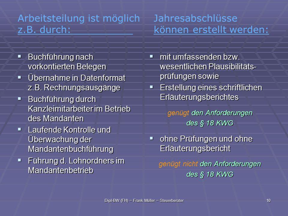 Dipl-BW (FH) ~ Frank Müller ~ Steuerberater10 Buchführung nach vorkontierten Belegen Buchführung nach vorkontierten Belegen Übernahme in Datenformat z