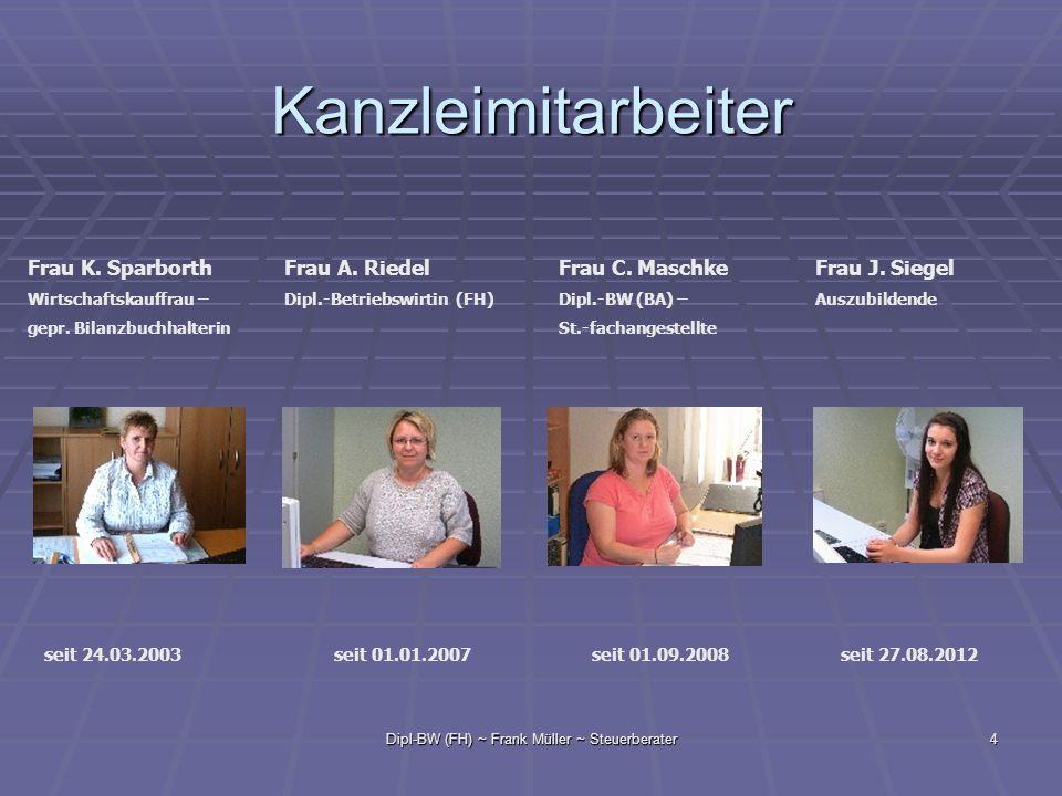 Dipl-BW (FH) ~ Frank Müller ~ Steuerberater4 Kanzleimitarbeiter Frau K. Sparborth Wirtschaftskauffrau – gepr. Bilanzbuchhalterin Frau A. Riedel Dipl.-