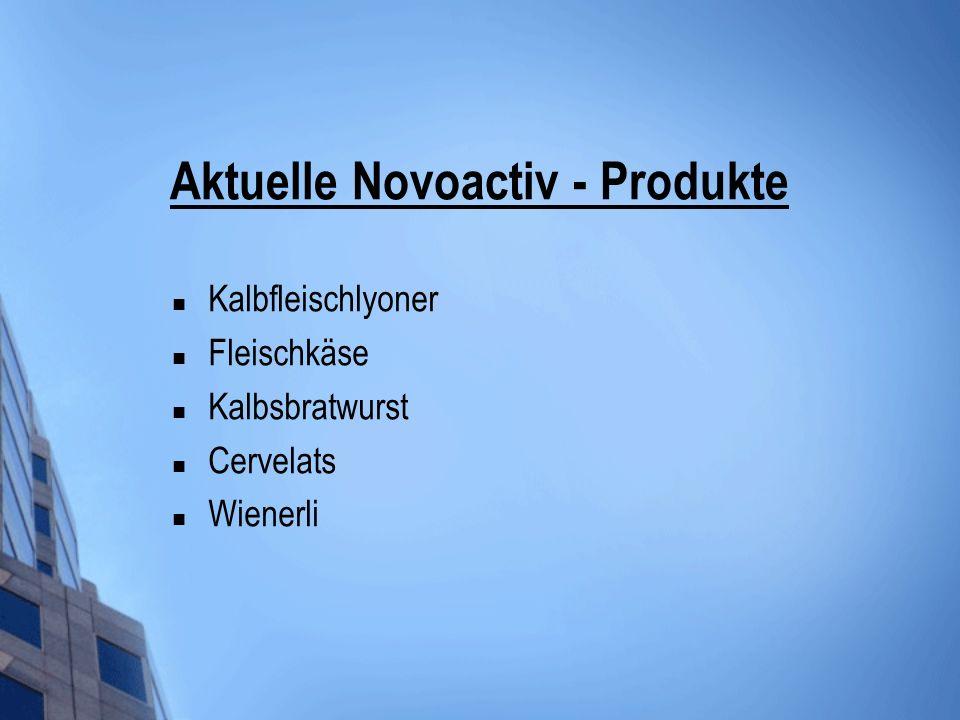 Aktuelle Novoactiv - Produkte Kalbfleischlyoner Fleischkäse Kalbsbratwurst Cervelats Wienerli
