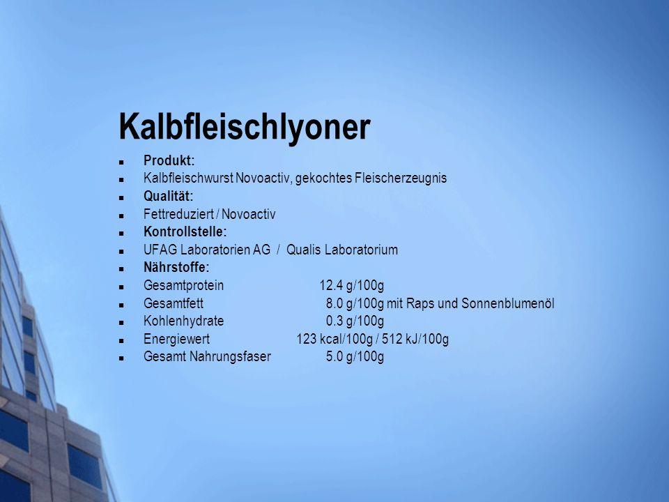 Kalbfleischlyoner Produkt: Kalbfleischwurst Novoactiv, gekochtes Fleischerzeugnis Qualität: Fettreduziert / Novoactiv Kontrollstelle: UFAG Laboratorie