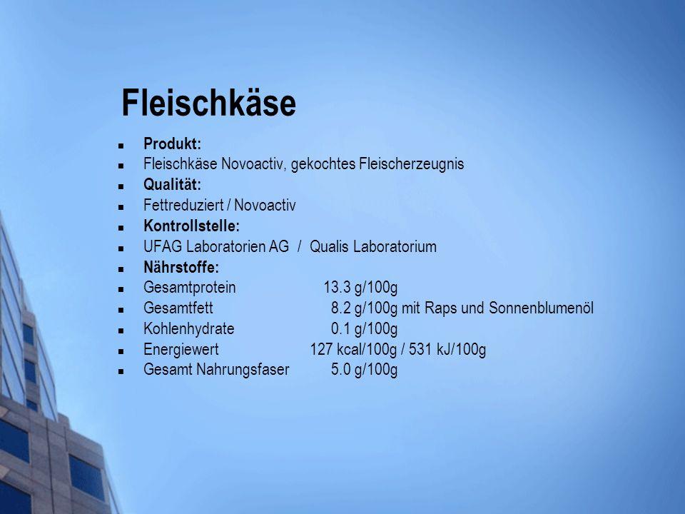 Fleischkäse Produkt: Fleischkäse Novoactiv, gekochtes Fleischerzeugnis Qualität: Fettreduziert / Novoactiv Kontrollstelle: UFAG Laboratorien AG / Qual