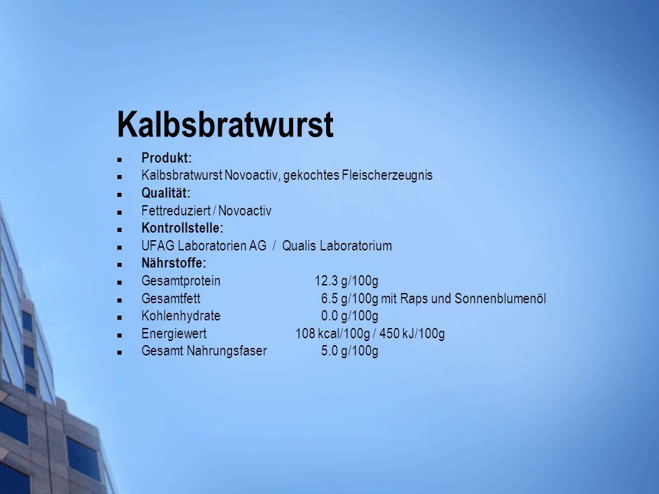 Kalbsbratwurst Produkt: Kalbsbratwurst Novoactiv, gekochtes Fleischerzeugnis Qualität: Fettreduziert / Novoactiv Kontrollstelle: UFAG Laboratorien AG