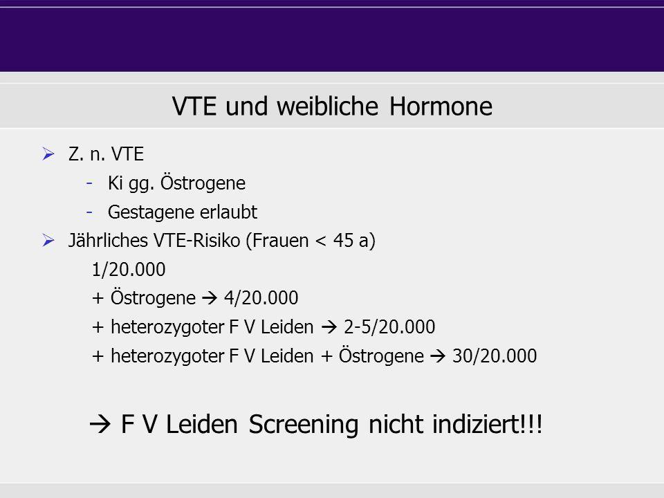 VTE und weibliche Hormone Z. n. VTE - Ki gg. Östrogene - Gestagene erlaubt Jährliches VTE-Risiko (Frauen < 45 a) 1/20.000 + Östrogene 4/20.000 + heter