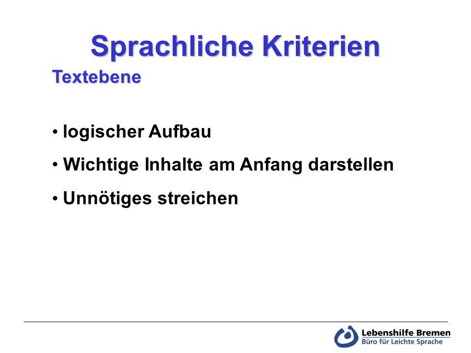einfacher Satzbau Informationen wiederholen kurze Sätze Sprachliche Kriterien Satzebene