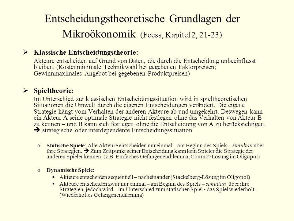Entscheidungstheoretische Grundlagen der Mikroökonomik (Feess, Kapitel 2, 21-23) Klassische Entscheidungstheorie: Akteure entscheiden auf Grund von Da
