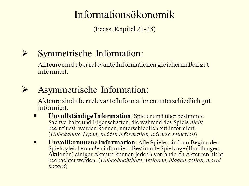 Informationsökonomik (Feess, Kapitel 21-23) Symmetrische Information: Akteure sind über relevante Informationen gleichermaßen gut informiert. Asymmetr