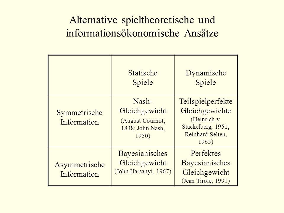 Beurteilung von Situationen: Das Konzept der Pareto-Effizienz B1B1 B2B2 B3B3 A1A1 10/100/62/2 A2A2 15/05/54/4 A3A3 3/57/36/66/6 Es existiert ein Nash-GG (A 3 /B 3 ) – jedoch ist dieses GG nicht Pareto-effizient.