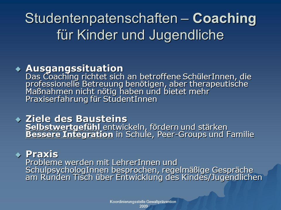Studentenpatenschaften – Coaching für Kinder und Jugendliche Ausgangssituation Das Coaching richtet sich an betroffene Sch ü lerInnen, die professione