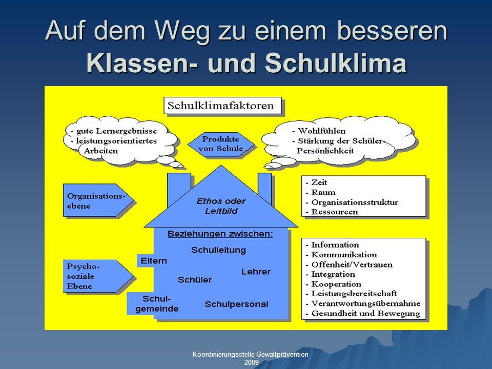 Auf dem Weg zu einem besseren Klassen- und Schulklima Koordinierungsstelle Gewaltprävention 2009