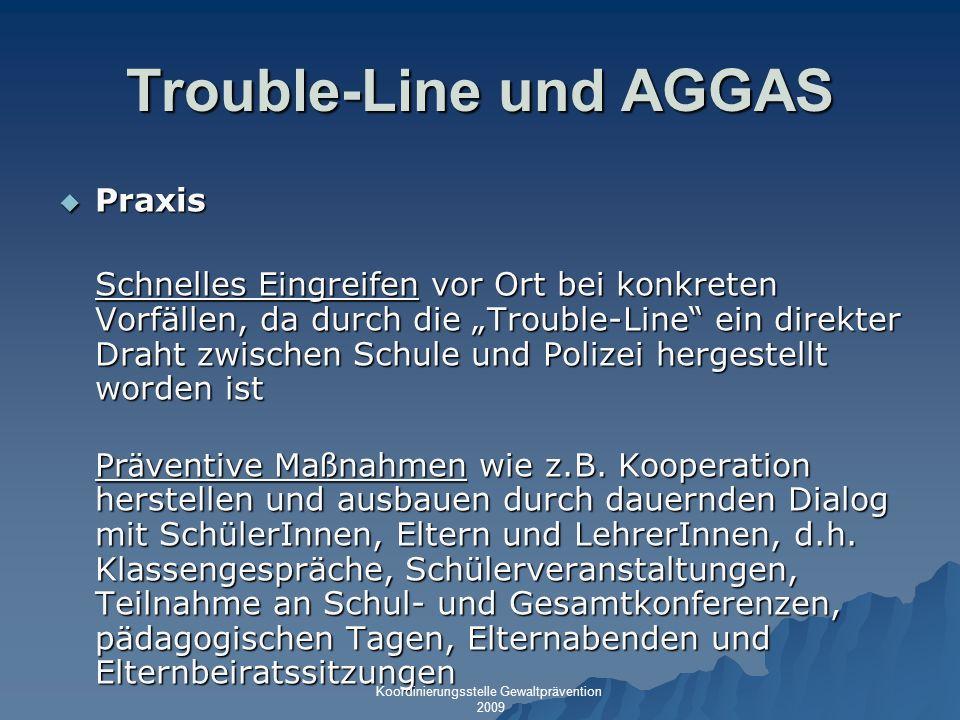 Trouble-Line und AGGAS Praxis Praxis Schnelles Eingreifen vor Ort bei konkreten Vorfällen, da durch die Trouble-Line ein direkter Draht zwischen Schul