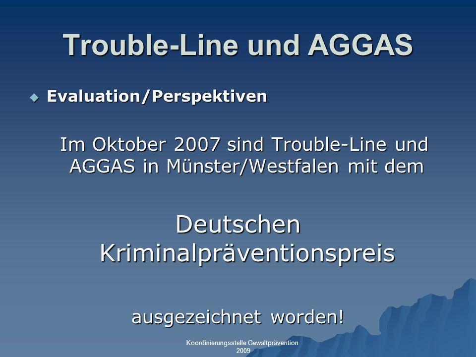 Trouble-Line und AGGAS Evaluation/Perspektiven Evaluation/Perspektiven Im Oktober 2007 sind Trouble-Line und AGGAS in Münster/Westfalen mit dem Im Okt