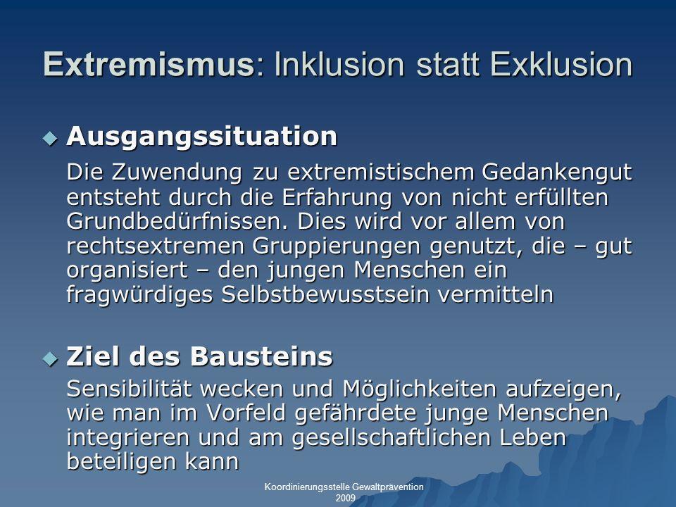Extremismus: Inklusion statt Exklusion Ausgangssituation Ausgangssituation Die Zuwendung zu extremistischem Gedankengut entsteht durch die Erfahrung v