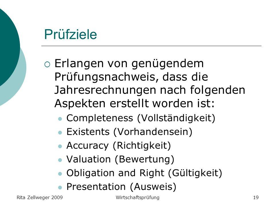 Rita Zellweger 2009Wirtschaftsprüfung19 Prüfziele Erlangen von genügendem Prüfungsnachweis, dass die Jahresrechnungen nach folgenden Aspekten erstellt worden ist: Completeness (Vollständigkeit) Existents (Vorhandensein) Accuracy (Richtigkeit) Valuation (Bewertung) Obligation and Right (Gültigkeit) Presentation (Ausweis)