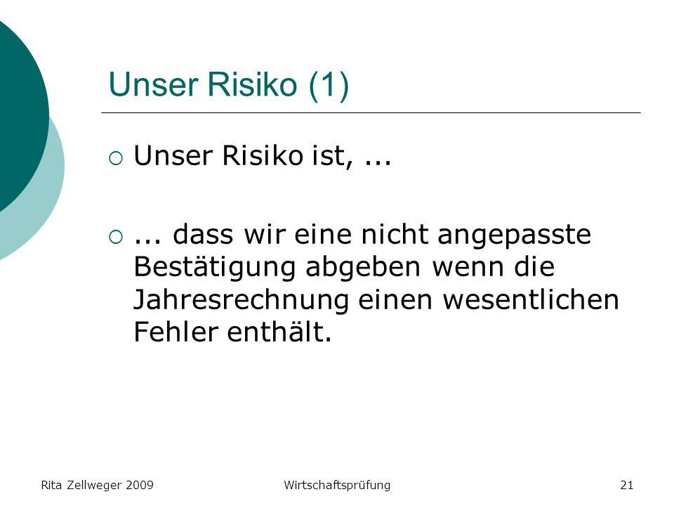 Rita Zellweger 2009Wirtschaftsprüfung21 Unser Risiko (1) Unser Risiko ist,......