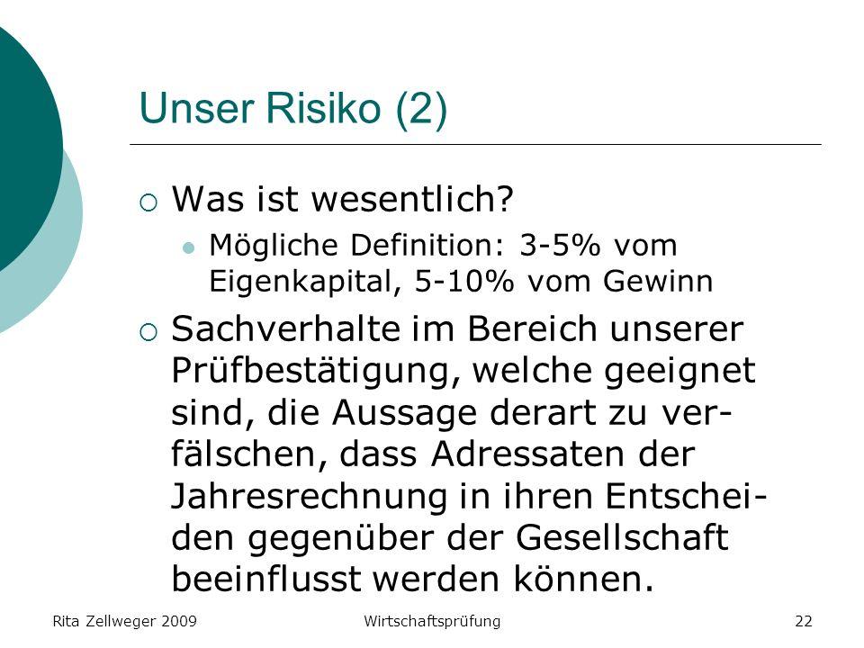 Rita Zellweger 2009Wirtschaftsprüfung22 Unser Risiko (2) Was ist wesentlich.