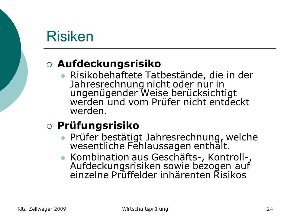 Rita Zellweger 2009Wirtschaftsprüfung24 Risiken Aufdeckungsrisiko Risikobehaftete Tatbestände, die in der Jahresrechnung nicht oder nur in ungenügender Weise berücksichtigt werden und vom Prüfer nicht entdeckt werden.