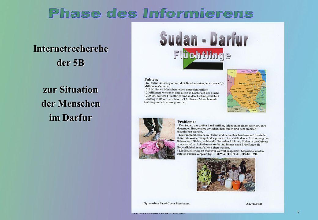 Projekt 2006 Sacré Coeur Pressbaum7 Internetrecherche der 5B zur Situation der Menschen im Darfur LGF
