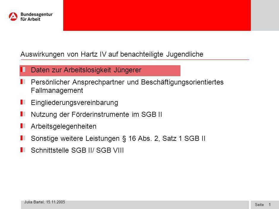 Seite Julia Bartel, 15.11.2005 0 Auswirkungen von Hartz IV auf benachteiligte Jugendliche Tagung am 15.11.2005 auf Berlin BA Zentrale, Zentralbereich