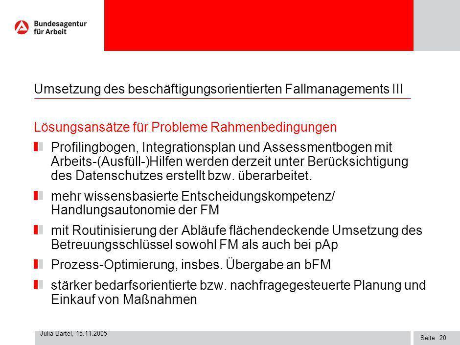 Seite Julia Bartel, 15.11.2005 19 Umsetzung des beschäftigungsorientierten Fallmanagements III Probleme Rahmenbedingungen Organisatorische Rahmenbedin