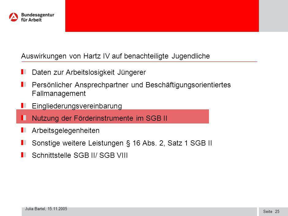 Seite Julia Bartel, 15.11.2005 24 Verbesserung der Qualität der Eingliederungsvereinbarungen …operative Abläufe in den ARGEn spielen sich ein …Weiterq