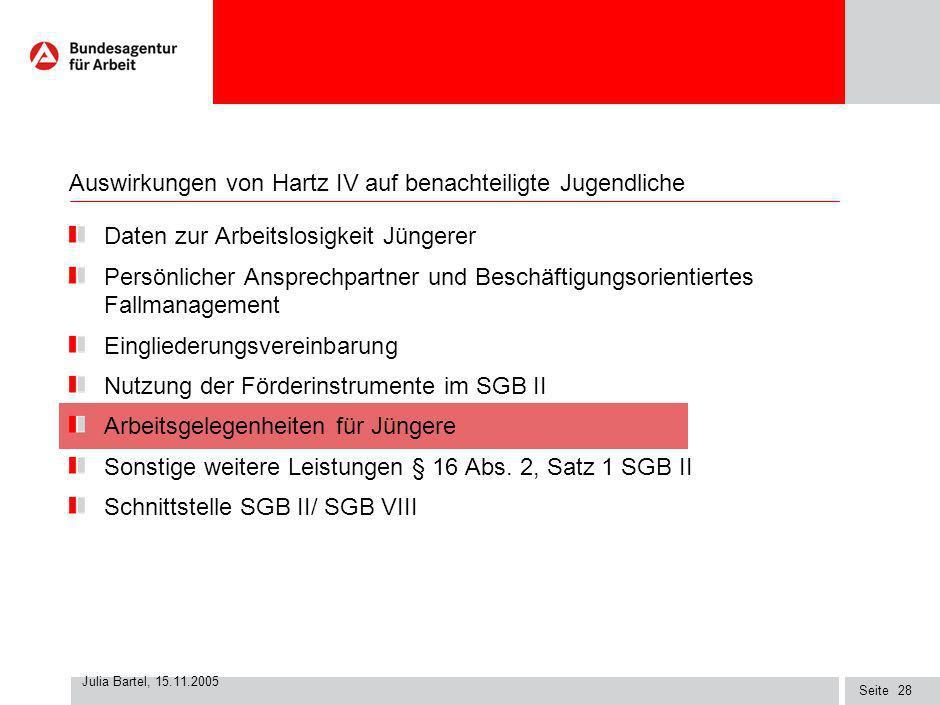 Seite Julia Bartel, 15.11.2005 27 Zugang Jüngerer U25 SGB II seit Jahresbeginn 2005 zu ausgewählten arbeitsmarktpolitischen Instrumenten Beauftragung