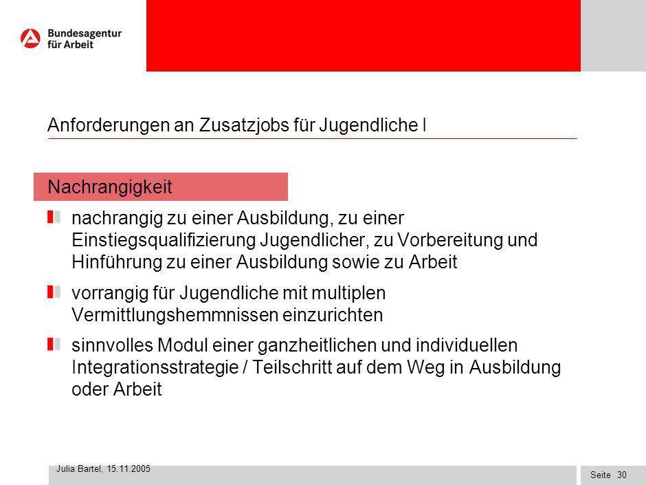 Seite Julia Bartel, 15.11.2005 29 Arbeitsgelegenheiten nach § 16 Abs. 3 SGB II Begleitarbeitsgruppe Zusatzjobs beim BMWA Arbeitshilfe Stand 2.9.05 im